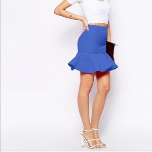 Blue Peplum Hem Skirt